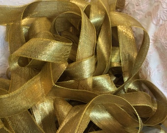 "Vintage 1"" Gold Metalic Ribbon over 37 yds! Spool!"