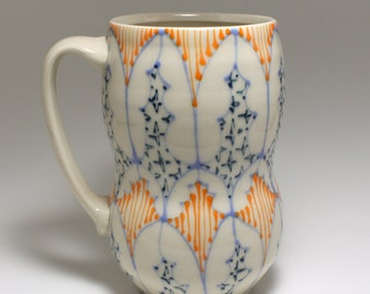 Ceramic Beer Stein, Large Coffee Mug - Handmade with Sky Blue, Orange and Navy Pattern