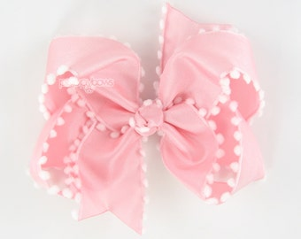 """Light Pink 4"""" Pom Pom Hair Bow, pink hair bow, pink and white, pom pom trim hairbow for girls baby toddler 4 inch boutique bow b4-ltp-pom"""