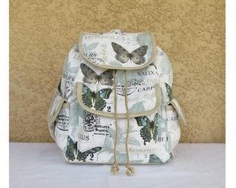 Handmade Butterfly Backpack - Rucksack - Green & Brown Butterflies