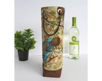 Bottle Gift Tote - Peacocks - Wine, Whiskey, Craft Beer, Gift Bag