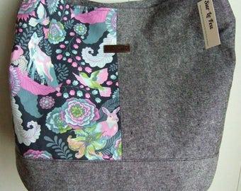 Foxy Bucket Bag / Woodland creatures / Fox & Rabbit / Tula Pink Fox Field / Swoon Bonnie