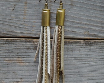 Beige  and White Leather Dangle Earrings- 9 mm Bullet Shell with Leather Fringe and Antique Brass and Gold Colored Chain