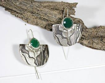 Big Silver Earrings with Green Gemstones, Exclusive Silver Earrings, Etched Sterling Silver Earrings