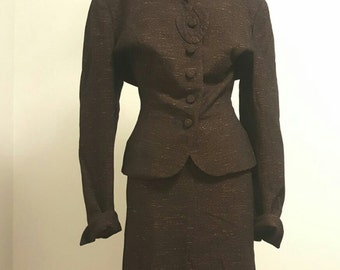SALE Vintage 1940s Wool Silk Blend Suit. Brown Tweed. Jacket Skirt. Larger Size.