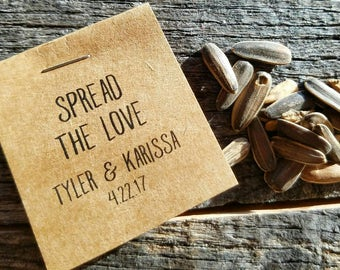Personalized MINI Bridal Shower Flower Seed Packet Favors Wildflower Seeds Love is in Bloom Wedding Favors Rehearsal Dinner Thank You