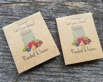 Personalized Mason Jar w/ Gerber Daisies, Babys Breath, Design MINI Seeds Let Love Grow Flower Seed Packet Favor Rustic Cute Little Favors