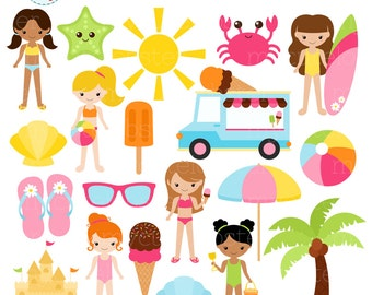 Girls Beach Clipart Set