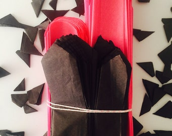 Ready to ship, tissue paper pom poms, hot pink and black pom pom set, sweet 16 party decor, bachelorette party decor, bridal shower