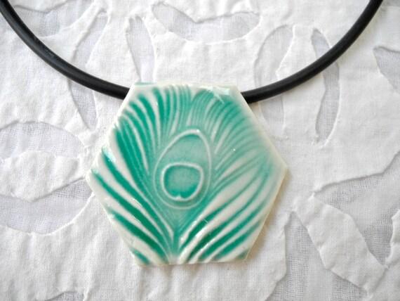 Hexagon Pendant, Peacock Feather Pendant, Aqua green necklace, Ceramic Hexagon, Handmade pendant, boho necklace,  pottery pendant,
