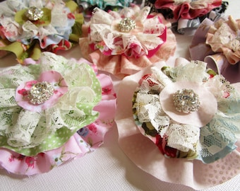 fabric flowers Set of 3 Craft supplies, Flower decorations, wedding embellishment, baby headband applique