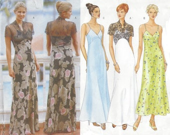 90s DW3 Womens Evening Gown Slip Dress or Illusion Neckline Butterick Sewing Pattern 5511 Size 14 16 18 Bust 36 38 40 FF Wedding or Prom