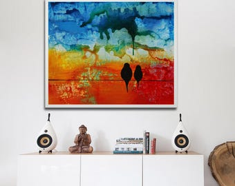 Red blue birds, red blue painting, colorful print, love birds print on canvas, family painting couple gift, marriage gift, wedding gift