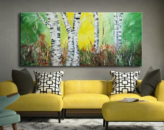 Green abstract forest Painting, birch aspen trees Painting, Aspen Trees Painting, Original Modern Abstract, large original art, white trees