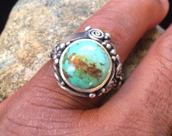 Round Turquoise and Sterling Silver Ring