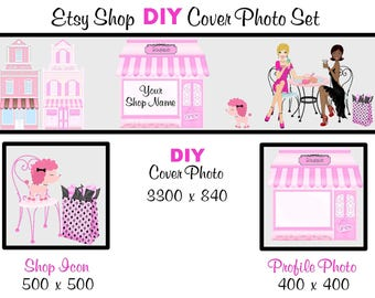 Etsy Shop Banner New Size Cover Photo Set DIY Add Your Shop Name Pink Boutique Instant Download