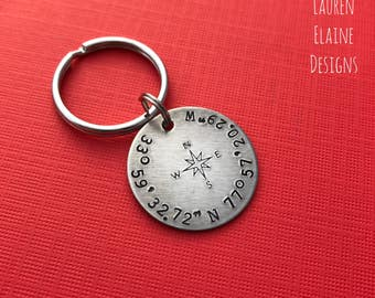 Custom Coordinates Keychain With Compass Rose- Hand Stamped Latitude Longitude Keychain- Choose Your Charm Metal