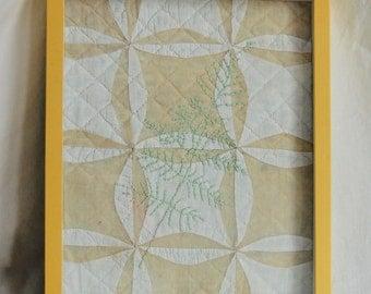 Antique Vintage Hand Sewn Quilt Fragment Framed