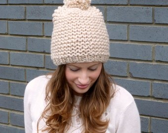 Knitting pattern set - pom pom hat and fingerless mitts instant PDF download