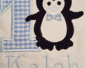 boys first birthday with blue gingham #1 and black penguin