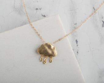 Gold raincloud pendant necklace // gold charm necklace // brushed gold cloud necklace //  pendant necklace // gold necklace //