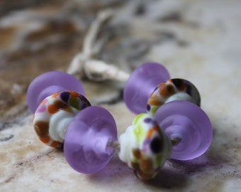 lampwork beads, glass beads, baroque shape, set of seven, etched, purple, multicolor and white