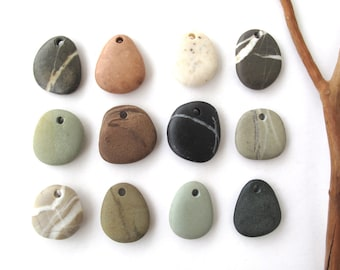 Rock Pendants Natural Stone Beads Mediterranean DIY Jewelry Beach Stone Beads Drilled River Stones Pebble Pendants PENDANT MIX 22-27 mm