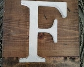 Wooden F Hanging Rustic letter sign- Wall hanging letter READY TO SHIP F Wedding gift teacher gift
