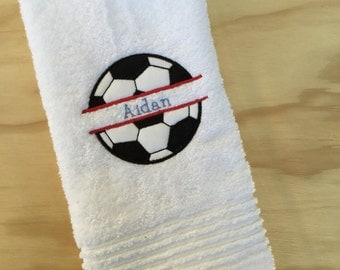 Soccer ball embroidered hand towel
