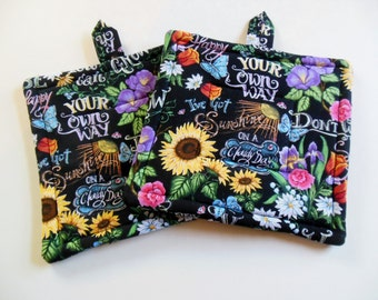 Potholders, Set of Two Quilted Potholders, Floral Potholders