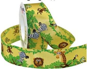 Kids Jungle Ribbon, Lightly Wired, Lions, Monkeys, Giraffe, Snakes, Zebras, Jungle, 3 Yards, 1.5 inches Wide, Kids, Crafts, Jungle Ribbon