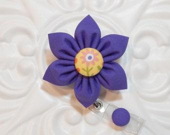 Purple Flower Retractable Badge Holder - Id Badge Reel - Badge Holder - Teacher Lanyard