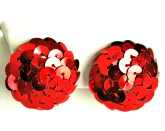 Disco balls bright red sequined earrings / vintage clip ons / 1950s or 60s Christmas Valentines party bling fashion