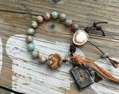 Beaded Layering Bracelet, Festival Style Boho Bracelet, Aqua Terra Jasper, Leather, Buddha, Artisan Bronze Button Closure