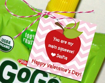 Personalized Apple Valentine Tags, Treat Tags, Favor Tags Printable or Printed w/ FREE Shipping - Juice Tag