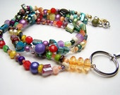 Beaded Lanyard, Keychain, ID Badge, Eyeglass Holder, Readers Keeper, One Of A Kind Lanyard by Eyewearglamour