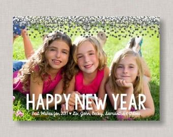 Happy New Year Card, Happy New Year, New Year Card, Confetti New Year Card, New Year Photo Card, Printable New Year Card, Happy 2017