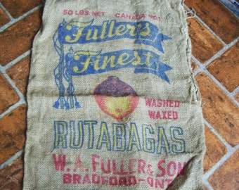 vintage burlap bag, old 50 pound burlap sack,  Canada rutabaga bag, Bradford Ontario