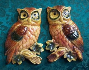 owl wall plaques, pair of ceramic owls