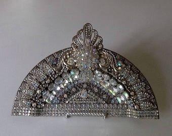 Decorative plate, ornate jeweled plate, aruora borealis jeweled plate, vintage jeweled plate, upcycled art, hostess, bridal, mom gift