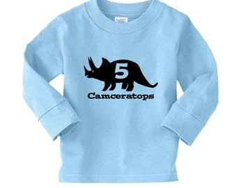 Triceratops Dinosaur Name Personalized Birthday Shirt - any age and name - pick your colors!