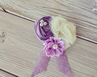 Wrist corsage, fabric flowers corsage, Wedding corsage for Mothers, prom corsage, purple corsage, mother of the bride