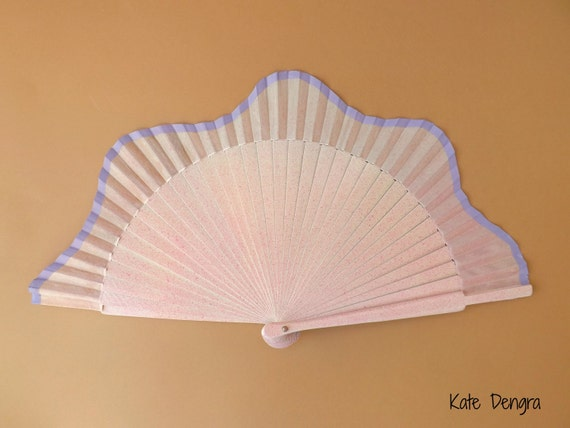Pink Lilac Scallop Hand Fan READY to Ship