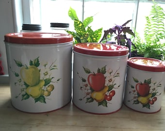 Vintage canister set fruit design