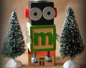 Robot Ornament - m Bot - Upcycled Ornament - Hanging Decor by Jen Hardwick