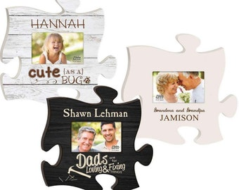 Personalized Puzzle Photo Frame - Personalized Sign - Engraved Wood Sign - Wedding Gift - Vintage Wall Sign - Housewarming Gift