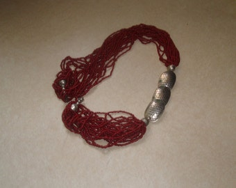 vintage necklace multi strand red glass seed beads silvertone