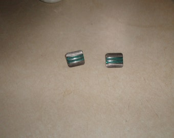 vintage clip on earrings silvertone turquoise enamel