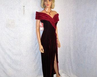 90s L 9 10 Nu Mode Velvet & Satin Off Shoulder Sheath Evening Prom Dress Gown Burgundy NWT Deadstock