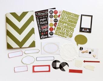 Christmas Winter Holiday Mini Album Scrapbook Kit Journal Daybook December Notebook Green Chevron Minibook 6x8 DIY Christmas Simple Stories
